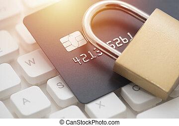 krediet, veiligheid, kaart, betaling