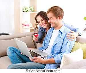 krediet, winkel, paar, kaart, internet, shopping., gebruik, ...