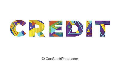 krediet, woord, concept, retro, kleurrijke, illustratie, kunst