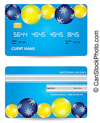 kredietkaart, -, back, editie, voorkant, kerstmis, aanzicht