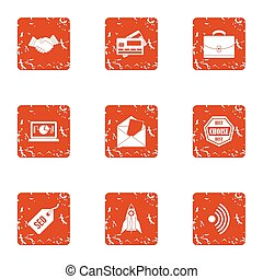 kredietkaart, iconen, set, grunge, stijl