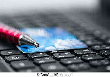 kredietkaart, op, toetsenbord
