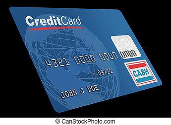 kredietkaart, op wit