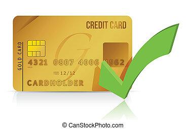 kredit, überprüfung karte, markierung