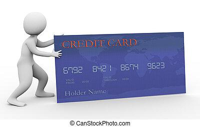 kredit, 3d, karte, mann