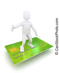 kredit, 3d, karte, person