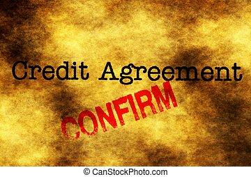 kredit, abkommen, bekräftigen