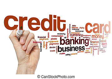 kredit, begriff, wort, karte, wolke
