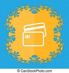 kredit, card., blumen-, wohnung, design, auf, a, blaues, abstrakt, hintergrund, mit, ort, für, dein, text.