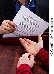 kredit, closeup, abkommen