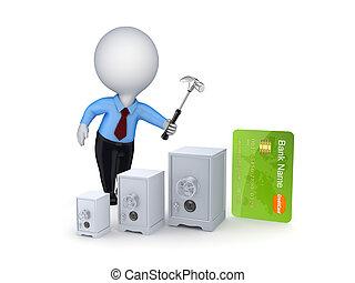 kredit, concept., karte