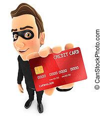 kredit, dieb, 3d, besitz, karte