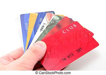 kredit, halten, hand, auto