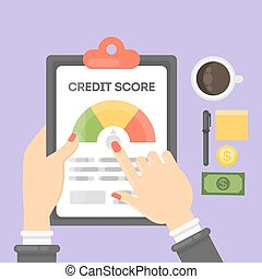 kredit, partitur, report.