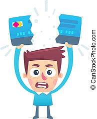 kredit, probleme, karte