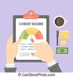 kredit, regning, report.
