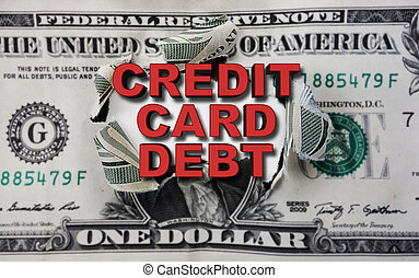 kredit, schuld, dollar, karte