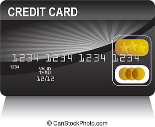 kredit, schwarz, karte, gold