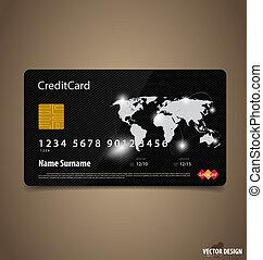 kredit, vektor, card., illustration.