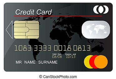 kredit, vektor, schwarz, karte, secur