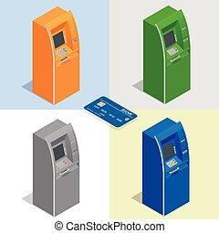 kredit, zahlung, geldautomat, finanz, geld., card., infographics., set., abbildung, isometrisch, machines., ikone, vektor, gebrauchend, wohnung, bankwesen