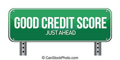 kreditera, bra, just, framåt, göra poäng