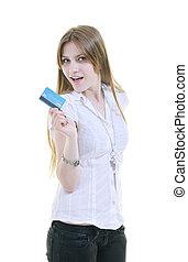 kreditera, kvinna, hålla, ung, kort