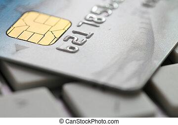 kreditkarte, auf, tastatur