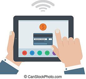 kreditkarte, beweglich, zahlung, hand holding, tablette,...
