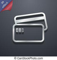 kreditkarte, ikone, symbol., 3d, style., poppig, modern, design, mit, raum, für, dein, text, ., rastrized