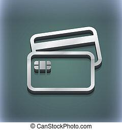 kreditkarte, ikone, symbol., 3d, style., poppig, modern, design, mit, raum, für, dein, text, ., raster