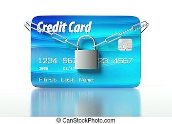 kreditkarte, und, vorhängeschloß, begriff, von, sicherheit