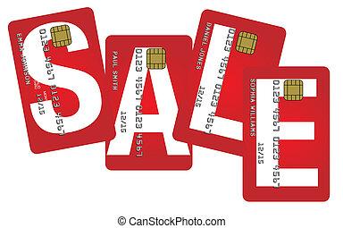 kreditkarten, mit, verkauf zeichen