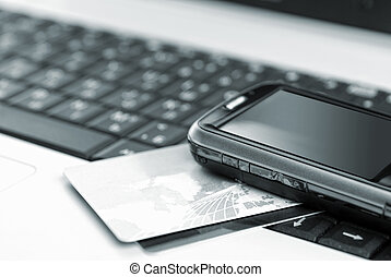 kreditkarten, und, handy, auf, der, notizbuch