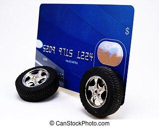 kreditkort, med, hjul
