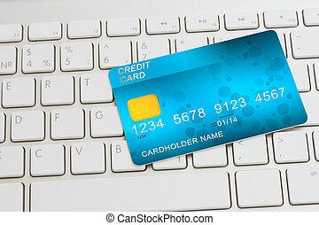 kreditkort, på, tangentbord