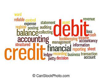 kredyt, debet, słowo, chmura