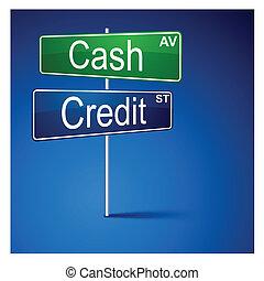 kredyt, gotówka, droga, kierunek, poznaczcie.