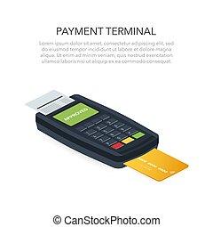 kredyt, isometric, debet, terminal, wektor, ilustracja, pos, umacnia, wpłata, card.