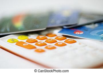 kredyt, kalkulator, pojęcie, karta, handlowy
