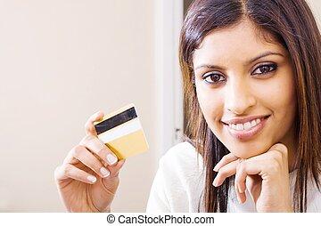kredyt, kobieta, ładny, karta