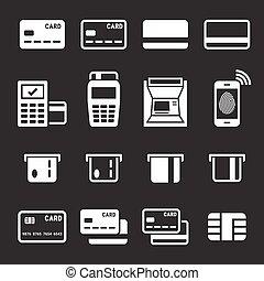kredyt, komplet, karta, ikony