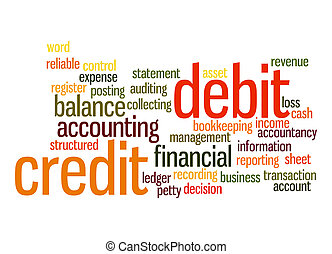 kredyt, słowo, chmura, debet