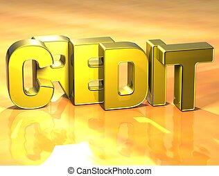 kredyt, słowo, tło, żółty, 3d