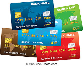 kredyt, wektor, card., ilustracja, plastyk