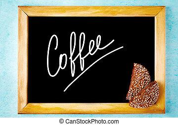 kreide ausschuß, mit, weißes, text, bohnenkaffee, in, hölzerner rahmen