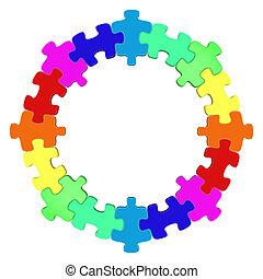 kreis, puzzle, gefärbt
