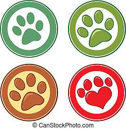kreis, satz, hund, sammlung, pfote