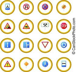 kreis, satz, zeichen, straße, ikone