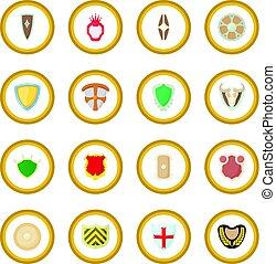 kreis, schutzschirm, ikone